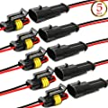 YETOR Way Car Waterproof Electrical Connector,16 AWG 2 pin Plug Auto Electrical Wire Connectors for Car, Truck, Boat, and Other Wire Connections.(5 Pack)