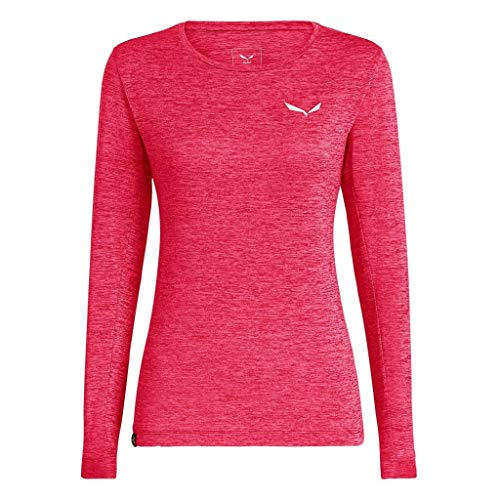 Salewa Damen PUEZ Dry W L/S Tee T-Shirt, Rouge red Melange, 42/36