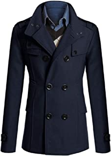 Howme-Men Topcoat Fit Long Sections Double Breasted Business Peacoats
