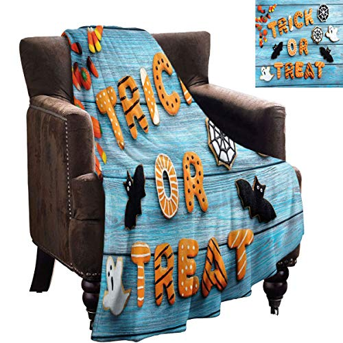LanQiao Baby boy Blankets - Vintage Halloween,Trick or Treat Cookie Wooden Table Ghost Bat Web Halloween,Blue Amber Multicolor - Microfiber All Season Blanket 70'x50'