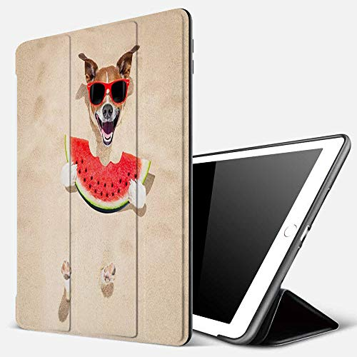iPad 9.7 inch 2017/2018 Case/iPad Air/Air 2 Cover,Jack Russell Dog Beach Summer Wearing red Sunglasses Eating a Fresh Juicy Watermelon,PU Leather Shockproof Shell Stand Smart Cover with Auto Wake