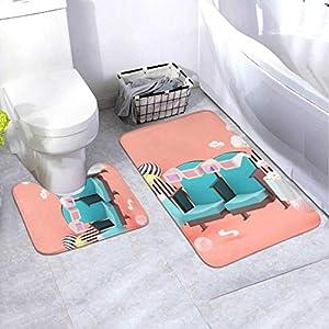 Badematten-Set Kinostuhl Erfrischungsgetränke Popcorn Unter 2-teiligem Bereich Teppich-Set Enthält Toilette Oval U-förmig konturierte Matte und Bad Teppiche, Bad Teppiche Set Waschbar rutschfest für
