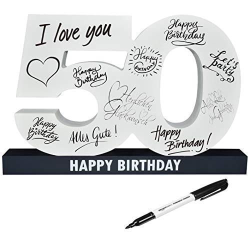 CREOFANT XL Gästebuch 50. Geburtstag · Gästebuch Happy Birthday · 37 cm x 24 cm · 50....