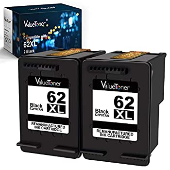 Valuetoner Remanufactured Ink Cartridge Replacement for HP 62 XL 62XL Used in Envy 5540 5640 5660 7644 7645 OfficeJet 5740 8040 200 250 Series Printer   2 Black