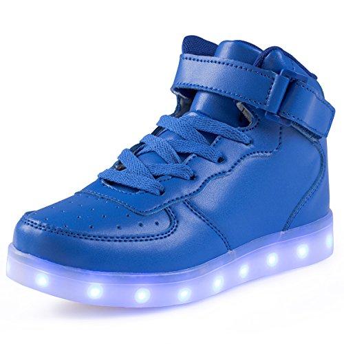 FLARUT Hoch Oben USB Aufladen LED Leuchtend Leuchtschuhe Blinkschuhe Sport Schuhe für Jungen Mädchen Kinder(34 EU,Blau)