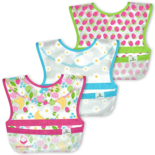green sprouts Snap & Go Wipe-off Bavoirs (lot de 3) Pink Fruit Floral, 9-18 mois