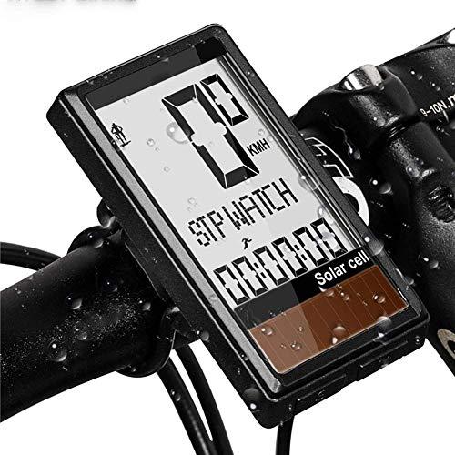 HJTLK Computadora inalámbrica para Bicicleta con GPS, cronómetro de Carga Solar Cuentakilómetros...
