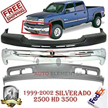 Front Bumper for 1999-2002 Chevrolet Silverado 2500HD 3500 Face Bar Chrome Valance W/o Bracket & Fog Light and Tow Hook Hole Direct Replacement Primed Metallic Set of 3 GM1002376 GM1051106 GM1092167