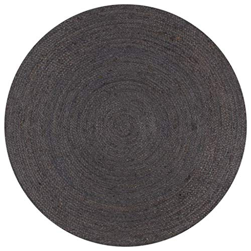 vidaXL Tapis Fait à la Main Jute Rond Moquette Carpette Plancher Coussin de Sol Salon Chambre à Coucher Intérieur Salle de Séjour Maison 150 cm Gris Foncé