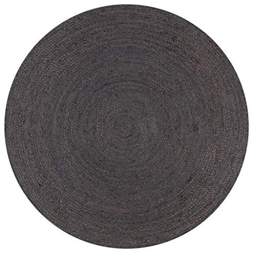 vidaXL Teppich Handgefertigt Kurzflor Wohnzimmerteppich Juteteppich Handwebteppich Läufer Schlafzimmer Flur Geflochtene Jute Rund 150cm Dunkelgrau