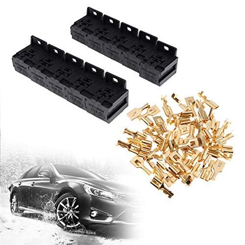 Mmbo 10 sets Coche Auto 30A-80A Soporte de la caja del soporte de la caja del terminal del soporte de la base del relé del soporte de la base de 5 pines con los terminales de 50pcs 6.3mm apta para aut