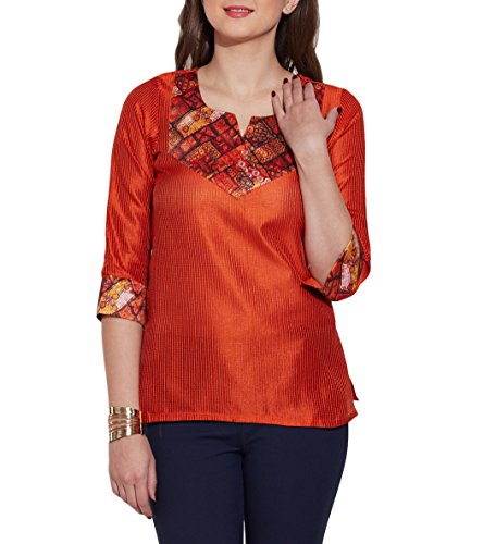 Casual Dresses for Women Faux Silk - 100% Polyester Kurti Top, W-FSK40-2205,Size-40 Inch Orange
