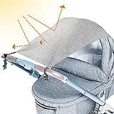 tEEZErshop Universal Sonnensegel für Kinderwagen mit UV Schutz Beschichtung 50+  Reißfester & waschbar Sonnenschutz   Markisen für Kinderwagen& Buggy mit Tasche(Hellgrau)