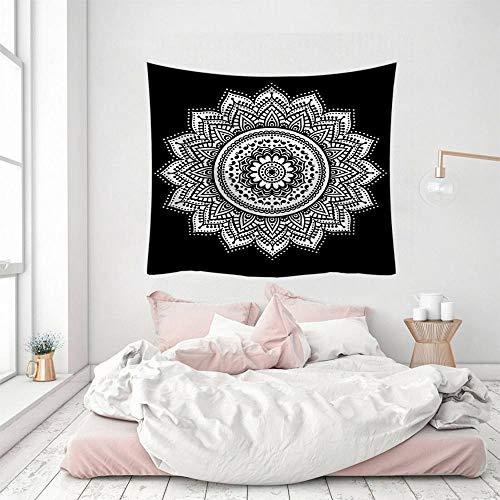Wandteppich, indisches Mandala-Design, Boho-Stil, Hippie, 3D-Druck, Polyester, silberfarben, dekorativ, Picknick, Schlafsaal, Wohnzimmer, Schlafzimmer, Arbeitszimmer, Fenster
