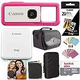 Canon Ivy Mini Photo Printer (Rose Gold) with Ivy Rec Camera (Dragonfruit), Printer Paper, Memory Card Bundle