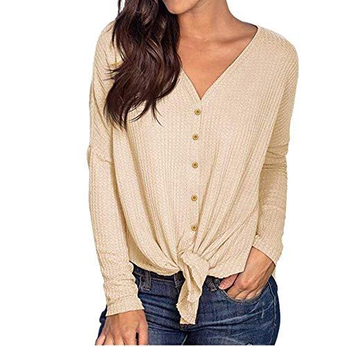 Kabxryaclo Jersey para mujer con hombros descubiertos y borla, cuello sesgado, elegante, de punto, liso, manga larga, delgada, para mujer