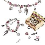 Molbory Charm Armband Kit DIY, Schmuck Bastelset Mädchen, Armkettchen Set Schmuckbastelsets Perlen Kette Versilbert Schmuck Armbänder für Kinder Geschenke (3 Sätze)