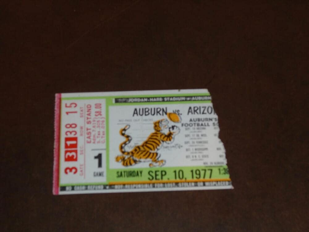 Super sale period limited Regular discount 1977 ARIZONA AT AUBURN TICKET STUB FOOTBALL