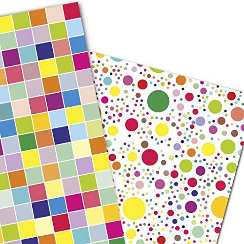 ArtUp.de 6 Bögen Geschenkpapier gemischt fröhliche Punkte und bunte Karos (je 3 Bögen) für tolle Geschenke super DIY Bastelbögen stabile Qualität Größe je Bogen DIN A2 (42 x 59 cm)