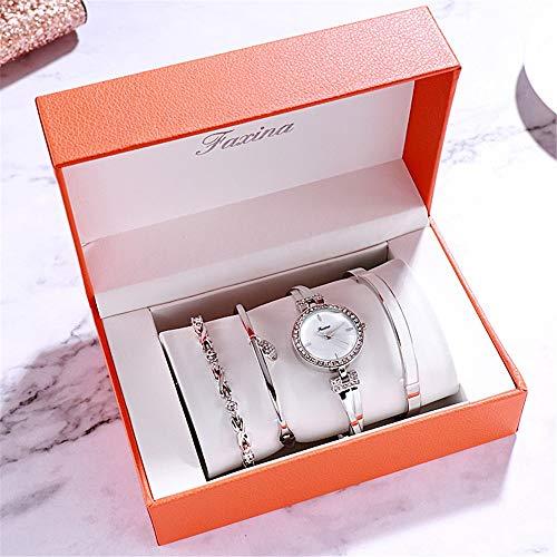 YIBOKANG 4 Pieces of Ladies Watch Bracelet Set Water Drill Case Fashion Bracelet Waterproof Quartz Fashion Watch (Color : 2)