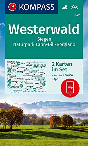 KOMPASS Wanderkarte Westerwald, Siegen, Naturpark Lahn-Dill-Bergland: 2 Wanderkarten 1:50000 im Set inklusive Karte zur offline Verwendung in der ... (KOMPASS-Wanderkarten, Band 847)