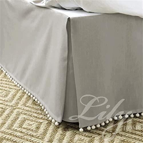 HUATAN 1 St. Bett Rock Bettlaken Staub Rüschen, Baumwollstoff Leicht zu reinigen Schnell Schlafzimmer Makeover,Grau,120x200cm