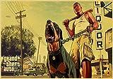 PC Game GTA5 Grand Theft Auto V Vintage Póster de papel pintado para pared 42 x 30 cm, 30 x 21 cm, A26, 42 x 30 cm