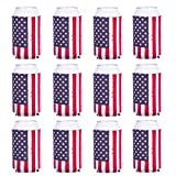 Can Cooler Sleeve 12pcs USA Flag Can Coolers Bulk Neoprene Coozies for Can and Bottle 120z
