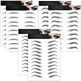 6 Sheets 4D Hair-Like Waterproof Eyebrow Tattoos Stickers Eyebrow Transfers Stickers Grooming Shaping Eyebrow Sticker in Arch Style for Women and Girls, 66 Pairs Black (Classic Styles)