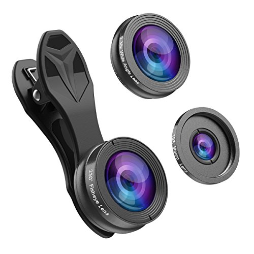 Phone Camera Lens,Hizek 0.36X Super Wide Angle Lens+15X Macro Lens+230°Fisheye Lens 3 in 1 HD Cell...
