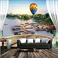 Djskhf 壁の3D写真の壁紙の建物の風景の壁紙リビングルームの家の装飾のための3D熱気球の壁紙カフェの壁紙 160X100Cm