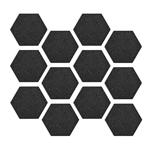 Navaris Hexagon Felt Board Tiles - Set of 12 Notice Memo Bulletin Boards with Push Pins Pack with Double-Sided Tape 5.9 x 6.7 inches - Dark Gray