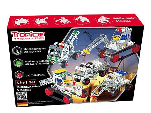 TRONICO Metallbaukasten 5-in-1 Baufahrzeuge Konstruktionsspielzeug Mint STEM Modellbau Bauen mit Werkzeug