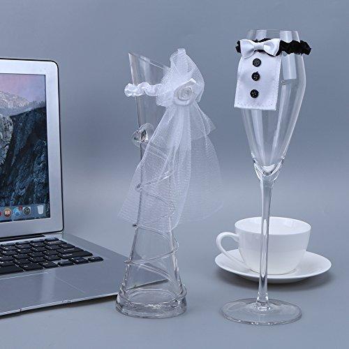 takestop® Set van 2 Sposo bruidsdecoratie kelk champagneglas champagneglas wijn sekt smoking party feest gadget