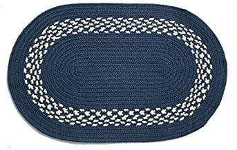 product image for Oval Braided Rug (3'x5'): Navy,- Navy & Cream Band