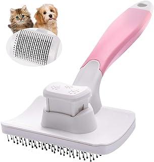 Petacc ペット用ブラシ スリッカーブラシ 抜け毛取りクリーナー グルーミング ワンプッシュで抜け毛除去 小型 中型犬 猫用ブラシ ピンク