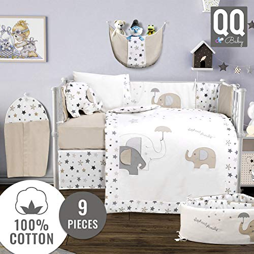 QoupQuru Baby Crib Bedding Set - 100% Turkish Cotton - 9 Piece Nursery Crib Bedding Sets for Boys & Girls - Elephant Design - 4 Color Variations by QQ Baby (Beige & Gray)