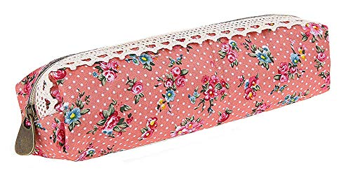 SAMGU Polka Dot Fleur Dentelle Florale Pencil Case Pen Sac Sac de Maquillage cosmétique Sac Pochette Couleur Pink