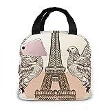 Bolsa de almuerzo aislada impermeable con doble águila corazón rojo Torre Eiffel, lonchera térmica reutilizable para el trabajo escolar