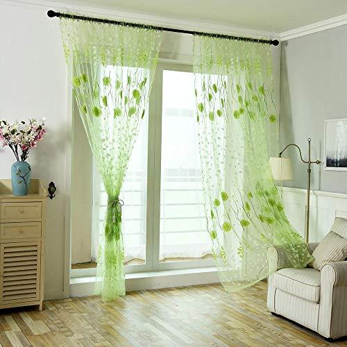 Tonsee Transparent Voile Gardinen Mode Blumen Gedruckt Durchsichtig Vorhänge mit Ösen für Wohnzimmer Schals Schlafzimmer Vorhänge Kinderzimmer Dekoschals Für Große Fenster 1 PCS,200cm x 100cm (Grün)