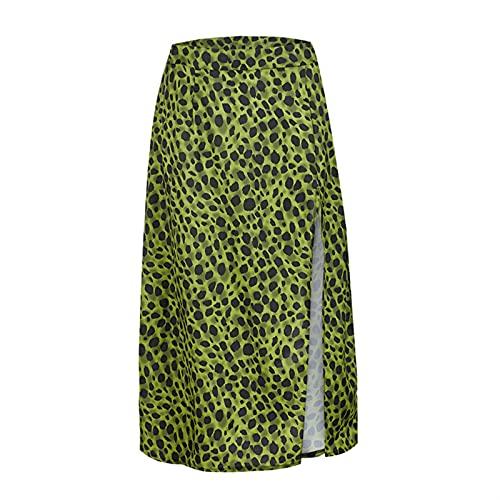 DHDHWL spódnica Letnie Spódnice Leopard Wrap Kobiety Sexy Odzież Wysoka Talia Zipper Split Beach Spódnica Lady Casual Fashion Beachwear minispódniczka (Color : Green, Size : S)