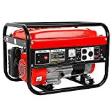 Portable Generators for Home Use, 4000W Gas Powered Generator Emergency Engine, Outdoor Generator Gasoline Power Station for Home and Camping Use with Wheel Kit RV Ready (Red)