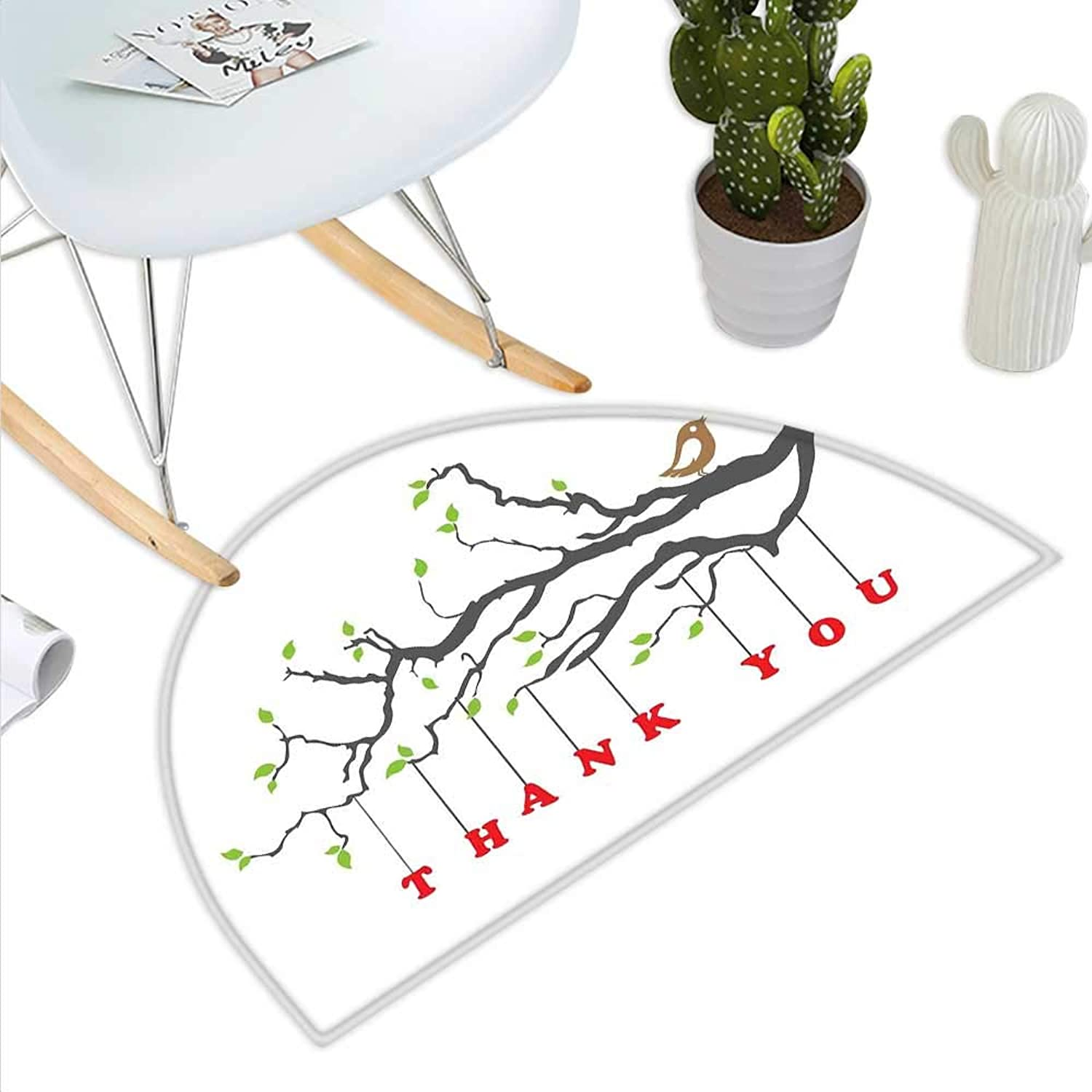 Nature Semicircle Doormat Thank You Quote Hangs from a Branch with Leaves and Bubble Hearts Artful Halfmoon doormats H 43.3  xD 64.9  Black Green and Red