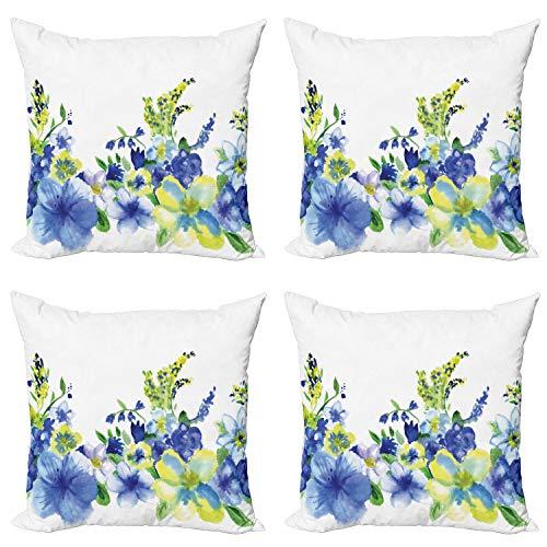 ABAKUHAUS Floral Set de 4 Fundas para Cojín, Flor de la Acuarela, Estampado Digital en Ambos Lados y Cremallera, 60 cm x 60 cm, Azul Amarillo