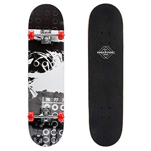 Monopatín patineta Retro Madera Skateboard Completo niños jóvenes Adultos Mejor Calidad Robusto Ligero Ruedas un Skateboard Madera (Grey/Black)