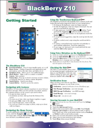 BlackBerry Z10 Quick Source Reference Guide