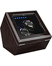 INCLAKE ワインディングマシーン腕時計自動巻き器ウォッチワインダー 2~4本巻き上げ,中に LED ライト付き, 蓋を開ける時、作業が中止されますので、腕時計を取るにはとても便利です