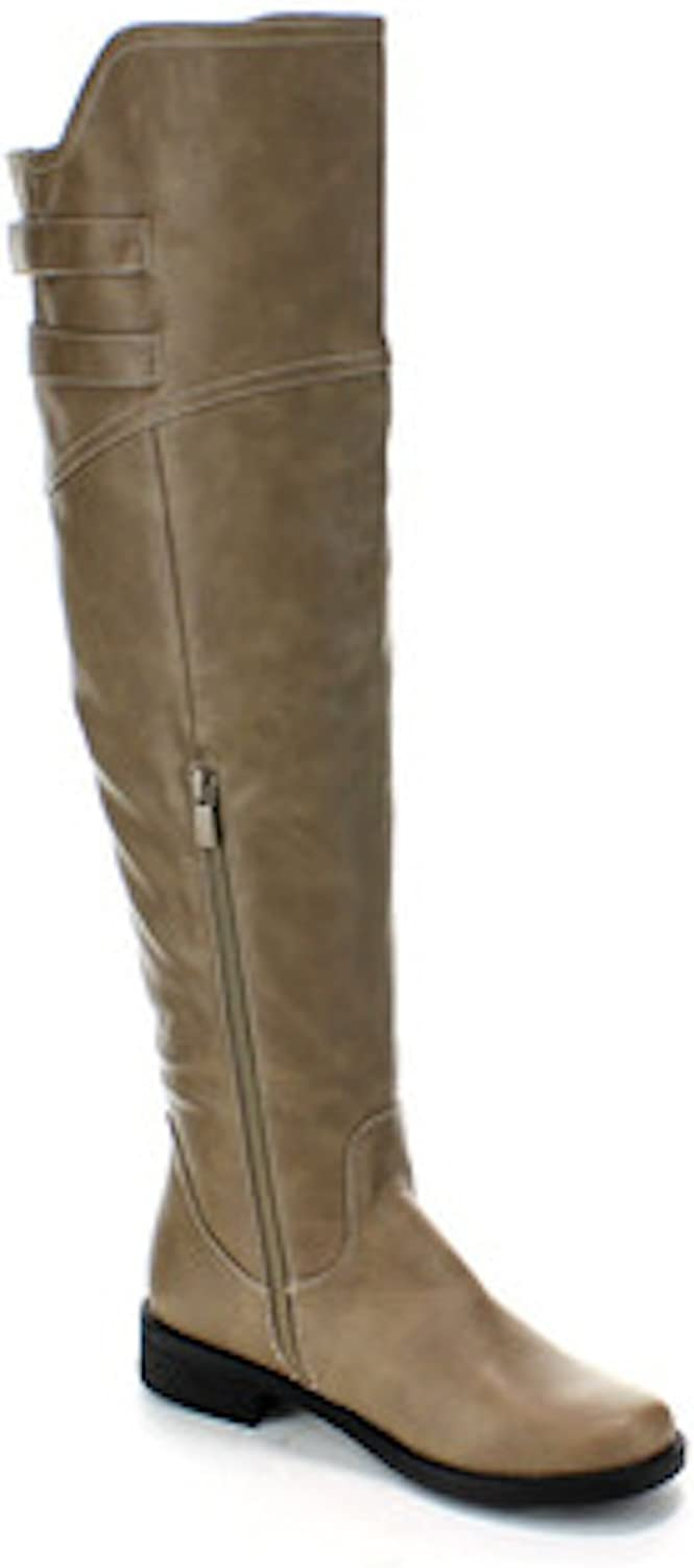 La Bella Fashion Women's Faux Leather Dress Dual Buckle Riding Boots in Black Tan Taupe