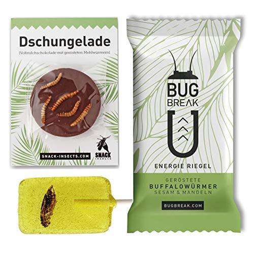 Essbare Insekten Snack-Set: Insektenriegel, Insektenlutscher & Insektenschokolade - Insekten zum Essen von SNACK insects