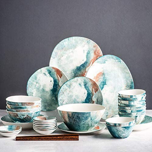 XLNB 30 Pieces Dinnerware Sets, Dinner Sets for 8 Person, Imitation Watercolor Design, Porcelain Plates and Bowls, Oven and Dishwasher Safe, Best Gift for Wedding and Housewarming